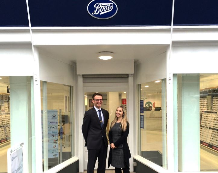 Boots Opticians Franchise franchisee in front of a shop