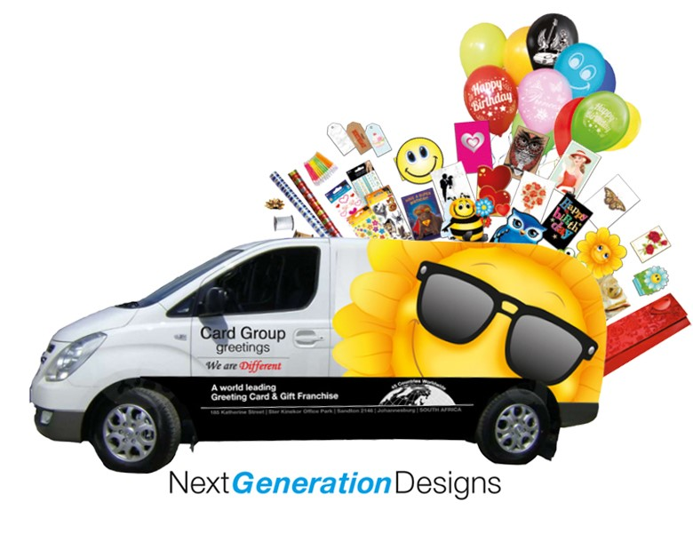 Card Group Franchise van with products