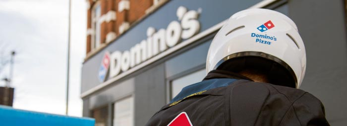 Domino's franchise pizza delivery man