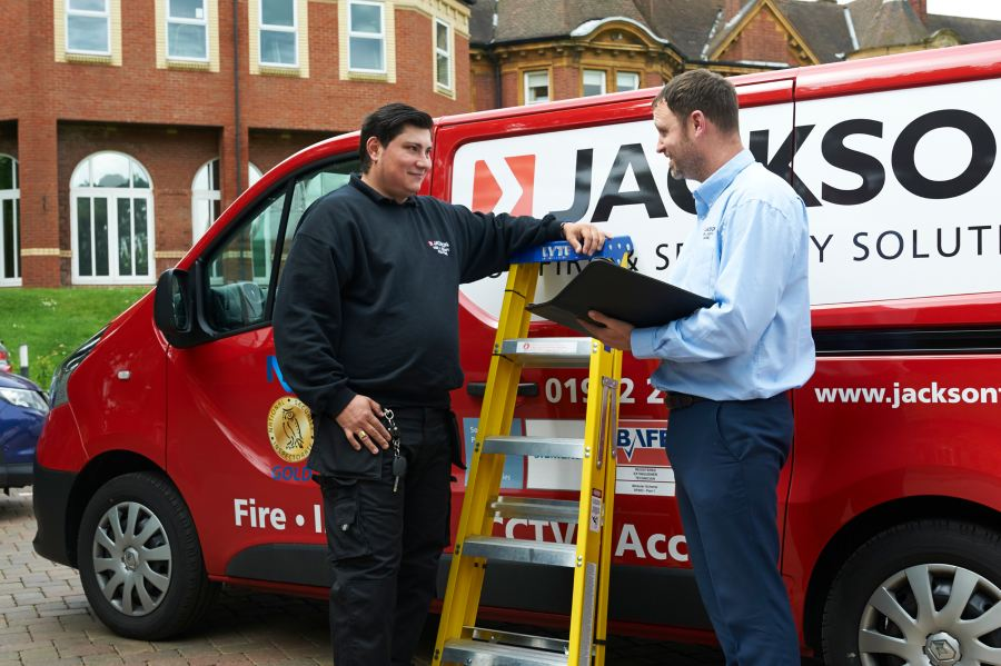Jackson Fire and Security Franchise van and workers