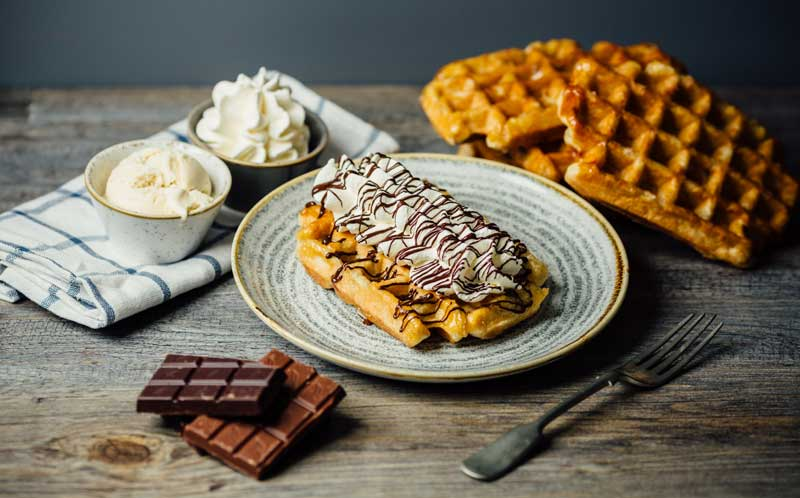 Wafflemeister franchise food in restaurant